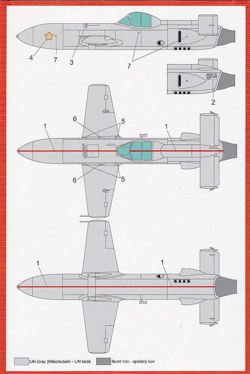 Brengun-BRP-48002-Ohka-Model-22-Markierungen Yokosuka MXY-7 Ohka Model 22 im Mastab 1:48 von Brengun BRP 48002