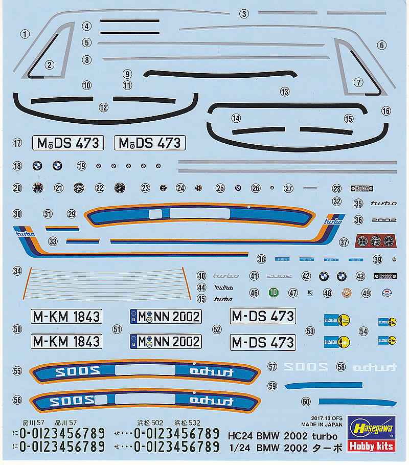 Hasegawa-HC-24-BMW-2002-Turbo-Decal BMW 2002 Turbo im Maßstab 1:24 von Hasegawa HC 24