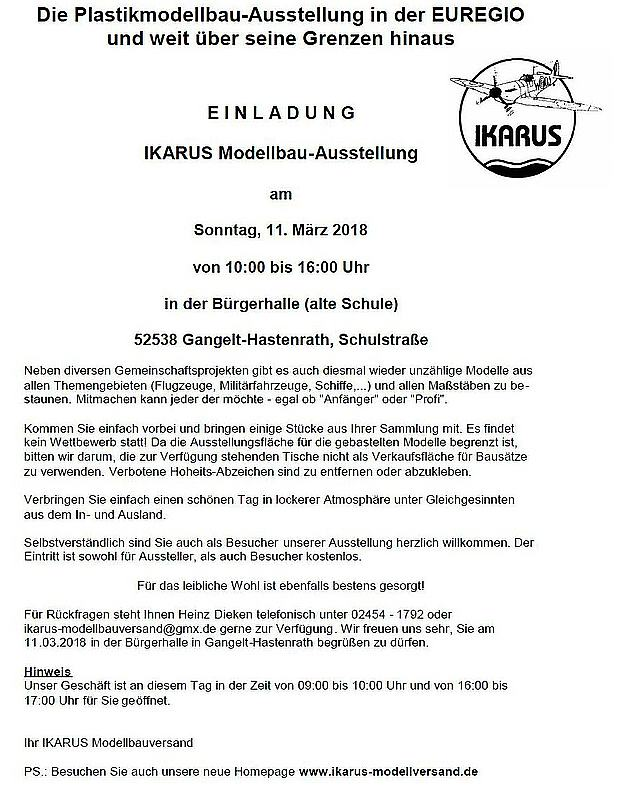 Ikarus-Modellbauaussstellung-2018 IKARUS Modellbauausstellung am 11. März 2018