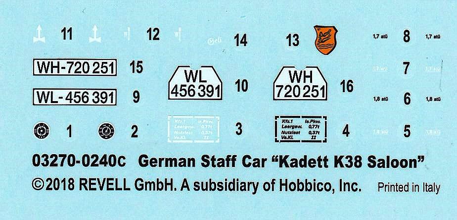 Revell-03270-Kadett-K38-Saloon-12 German Staff Car Kadett K 38 Saloon von Revell 03270