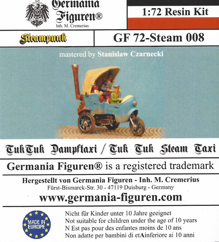 Box-1 Tuk Tuk Dampftaxi 1:72 Germania Figuren (#GF 72-Steam 008)