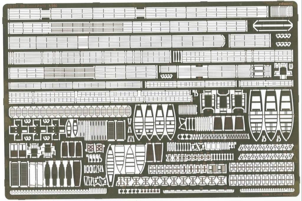 Eduard-53201-RN-ROMA-Platine Detailset Reling für die Roma (Trumpeter) im Maßstab 1:35 von Eduard 53201
