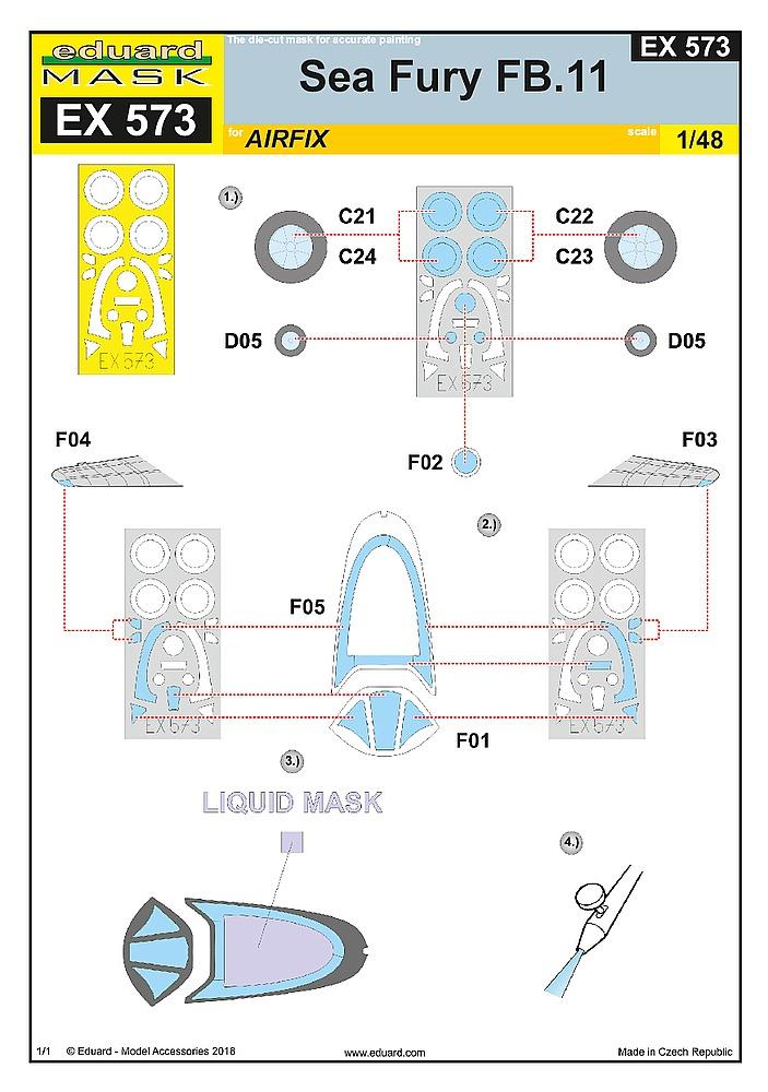 Eduard-EX-573-Sea-Fury-FB.11-Masken-3 Detailsets für die 48er Sea Fury FB.11 von Airfix von Eduard