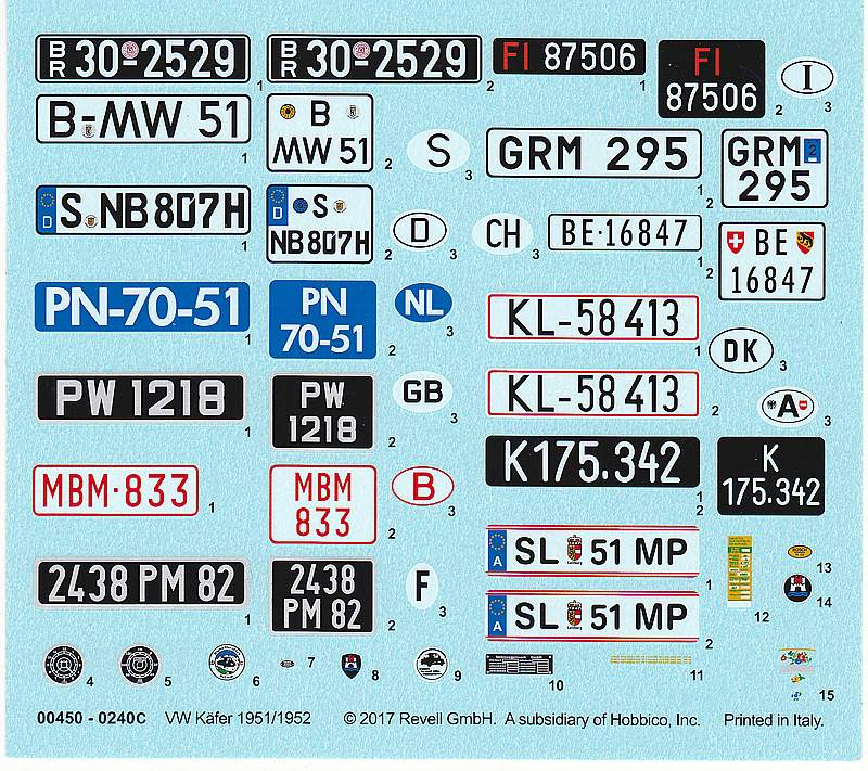 """Revell-00450-VW-Käfer-1951-52-Technik-17 VW Käfer Bj. 1951/52 im Maßstab 1:16 """"Technik"""" Revell 00450"""