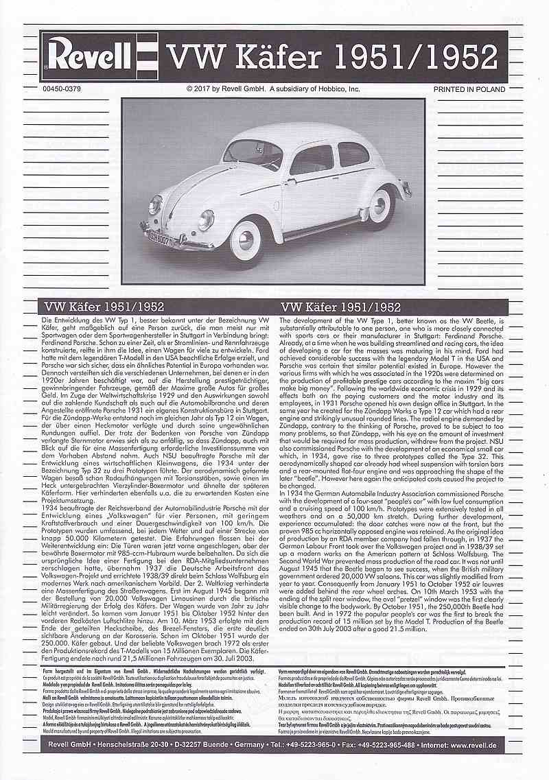 """Revell-00450-VW-Käfer-1951-52-Technik-52 VW Käfer Bj. 1951/52 im Maßstab 1:16 """"Technik"""" Revell 00450"""