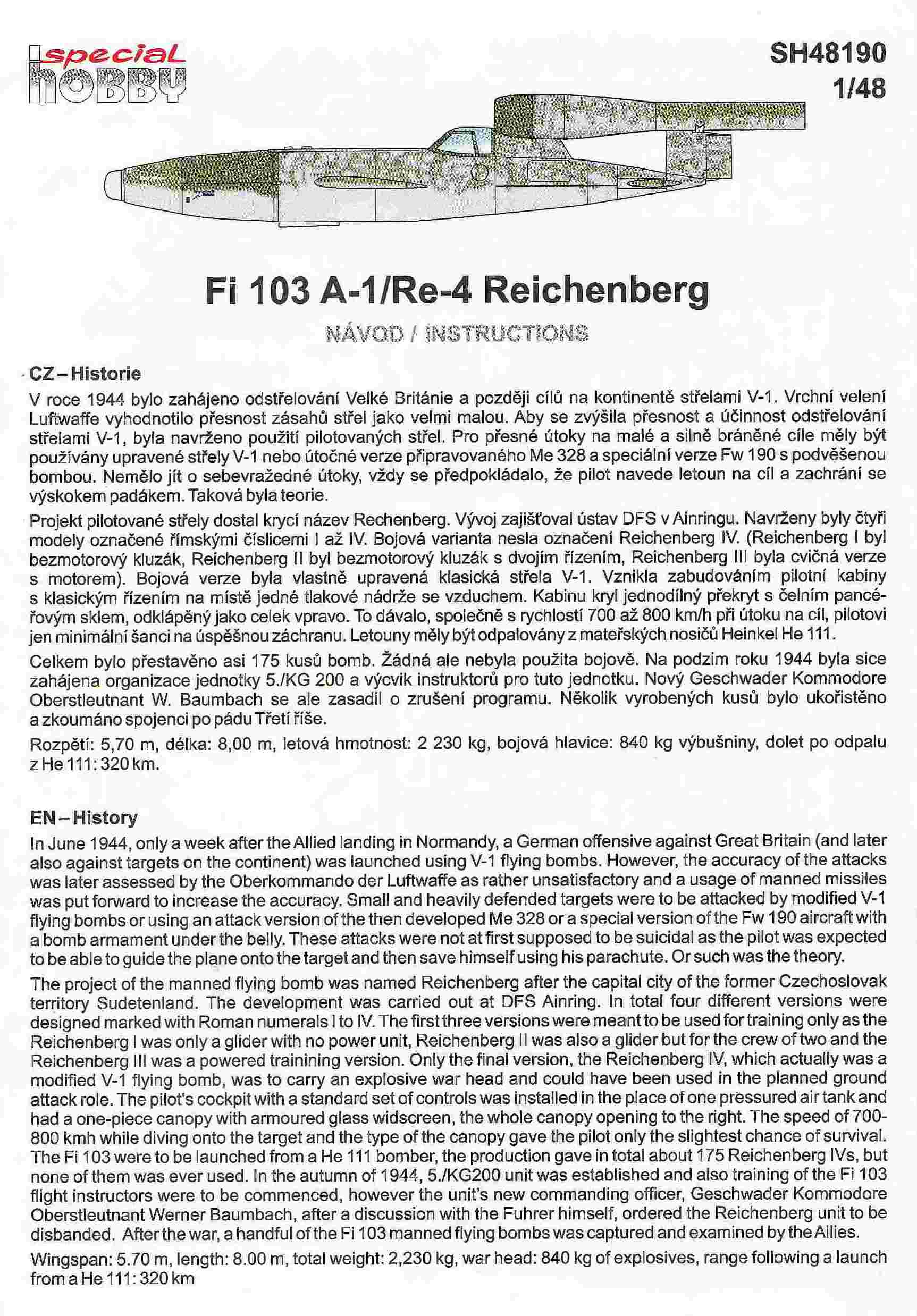 Special-Hobby-SH-48190-Fi-103A-1-Re-4-Reichenberg-2 Fiseler Fi 103A-1 / Re-4 Reichenberg (bemannte V1) von Special Hobby SH 48190