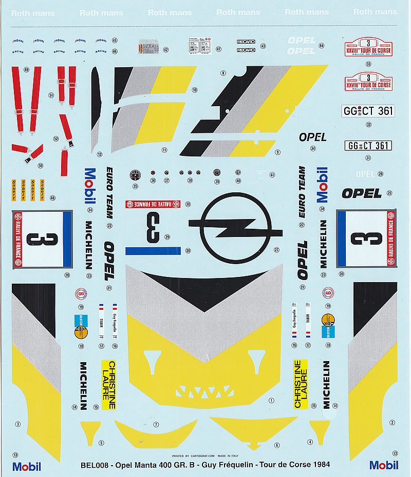 BelKits-BEL-008-OPEL-Manta-Gr-B-Tour-de-Corse-84-7 Opel Manta 400 Gr. B Tour de Corse 1984 in 1:24 von BelKits BEL-008