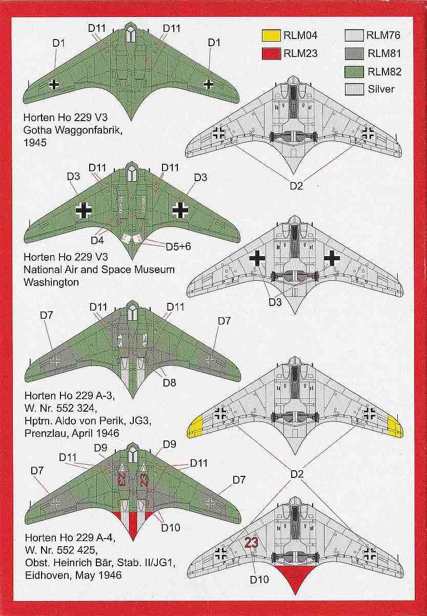 Brengun-BRP-144007-Horten-Ho-229-A-4 Horten Ho 229 A / Gotha Go 229 im Maßstab 1:144 von Brengun BRP 144007