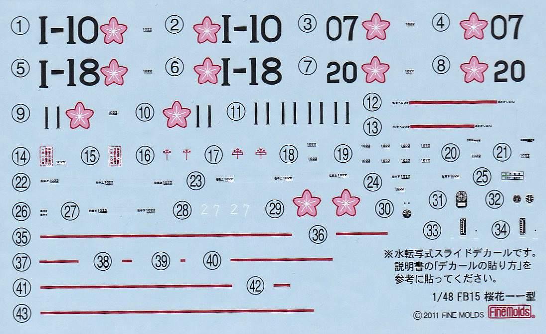 Fine-Molds-FB-15-Yokosuka-MXY7-Ohka-Typ-11-18 Yokosuka MXY 7 Ohka 11 im Maßstab 1:48 von Fine Molds FB 15