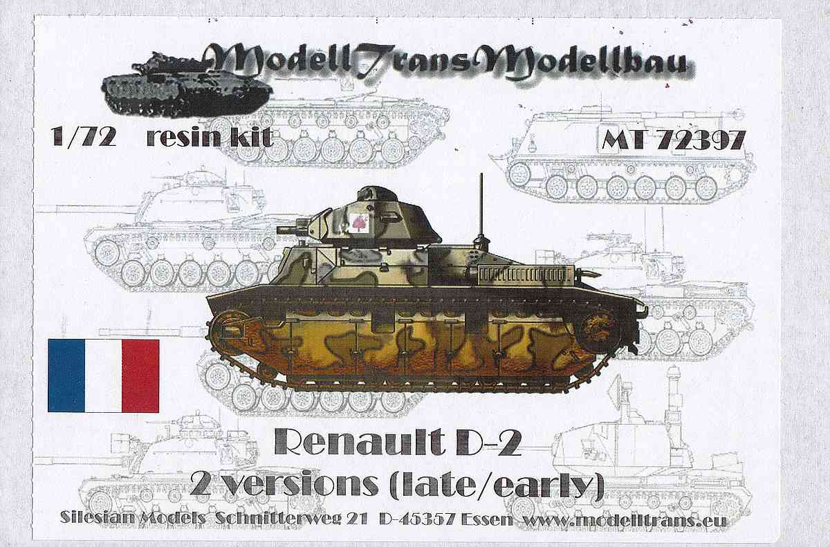 ModellTrans-MT-72397-Renault-D-2-2 Renault D-2 (early/late) im Maßstab 1:72 von ModellTrans MT 72397