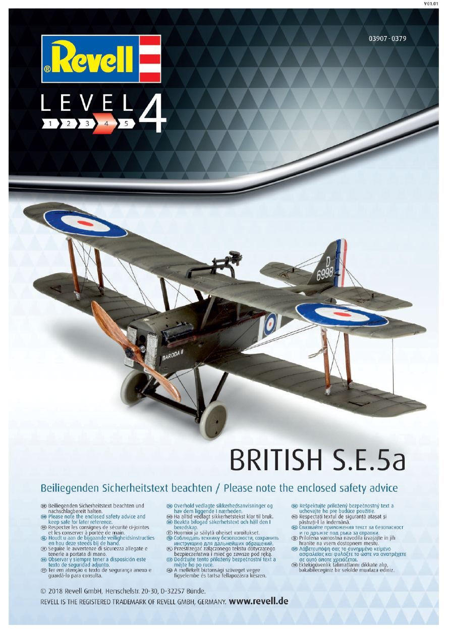 Revell-03907-S.E.-5a-100-Years-RAF-Bauanleitung-17 RAF SE 5a British Legends im Maßstab 1:48 von Revell 03907