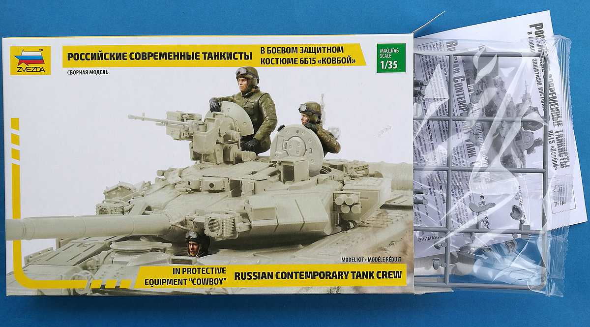 """Zvezda-3684-Russian-Tank-Crew-mit-Cowboy-1 Moderne russische Panzerbesatzung mit Schutzanzug """"Cowboy"""" in 1:35 von Zvezda 3684"""
