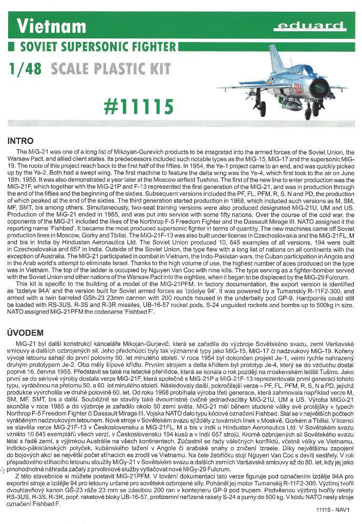 """Anleitung01-2-707x1024 MiG-21PFM """"Vietnam"""" 1:48 Eduard (#11115)"""