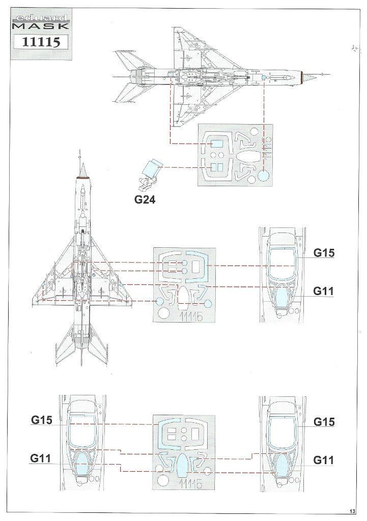 """Anleitung13-721x1024 MiG-21PFM """"Vietnam"""" 1:48 Eduard (#11115)"""