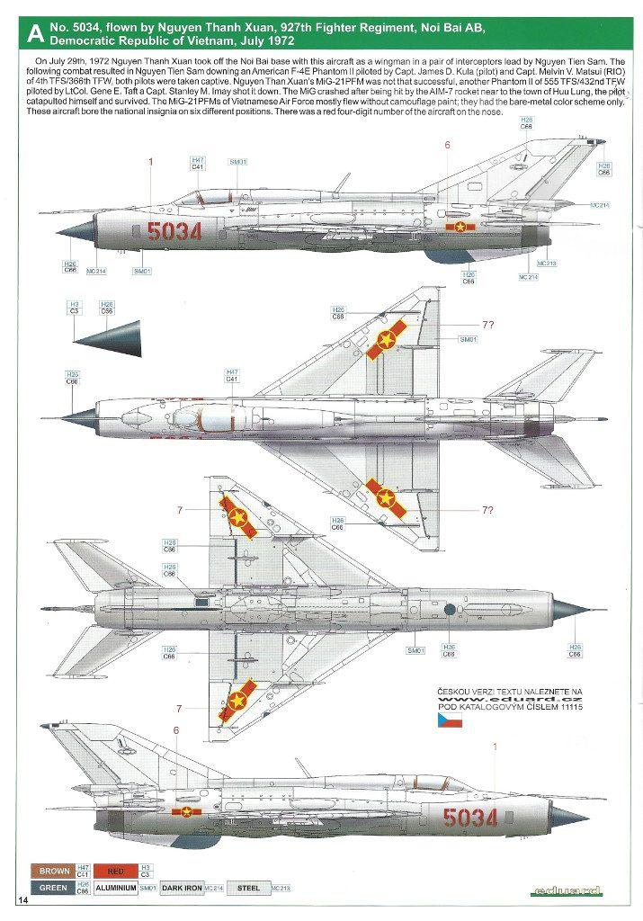 """Anleitung14-715x1024 MiG-21PFM """"Vietnam"""" 1:48 Eduard (#11115)"""
