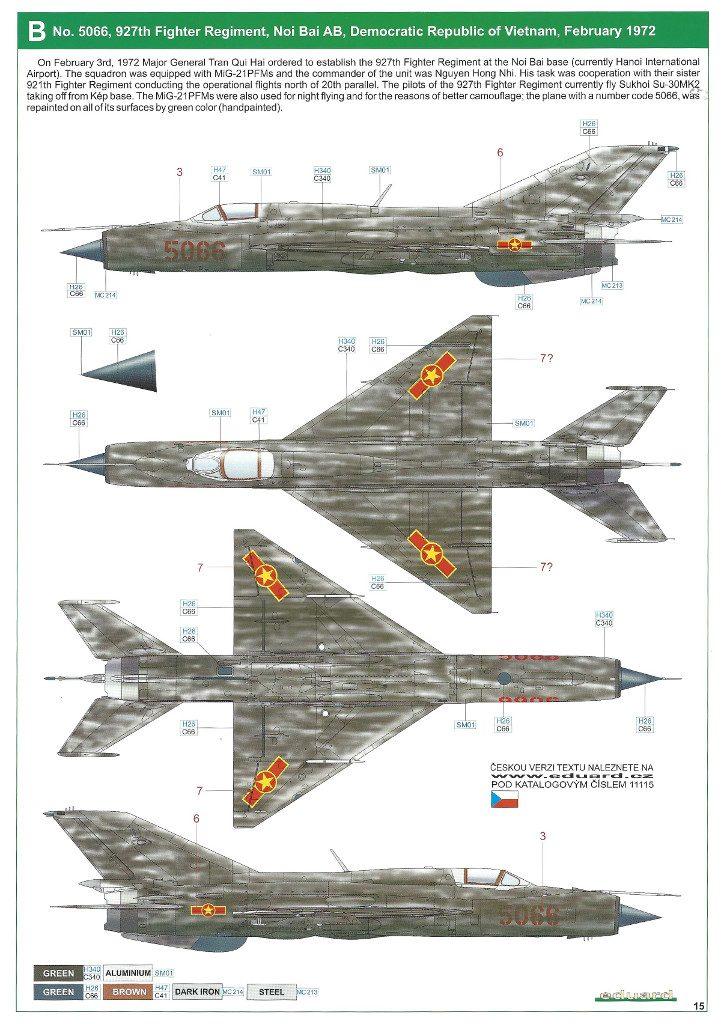 """Anleitung15-721x1024 MiG-21PFM """"Vietnam"""" 1:48 Eduard (#11115)"""