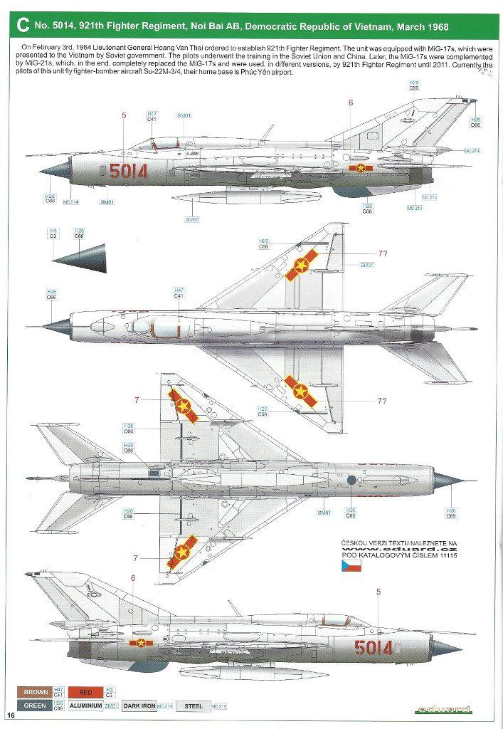 """Anleitung16-707x1024 MiG-21PFM """"Vietnam"""" 1:48 Eduard (#11115)"""