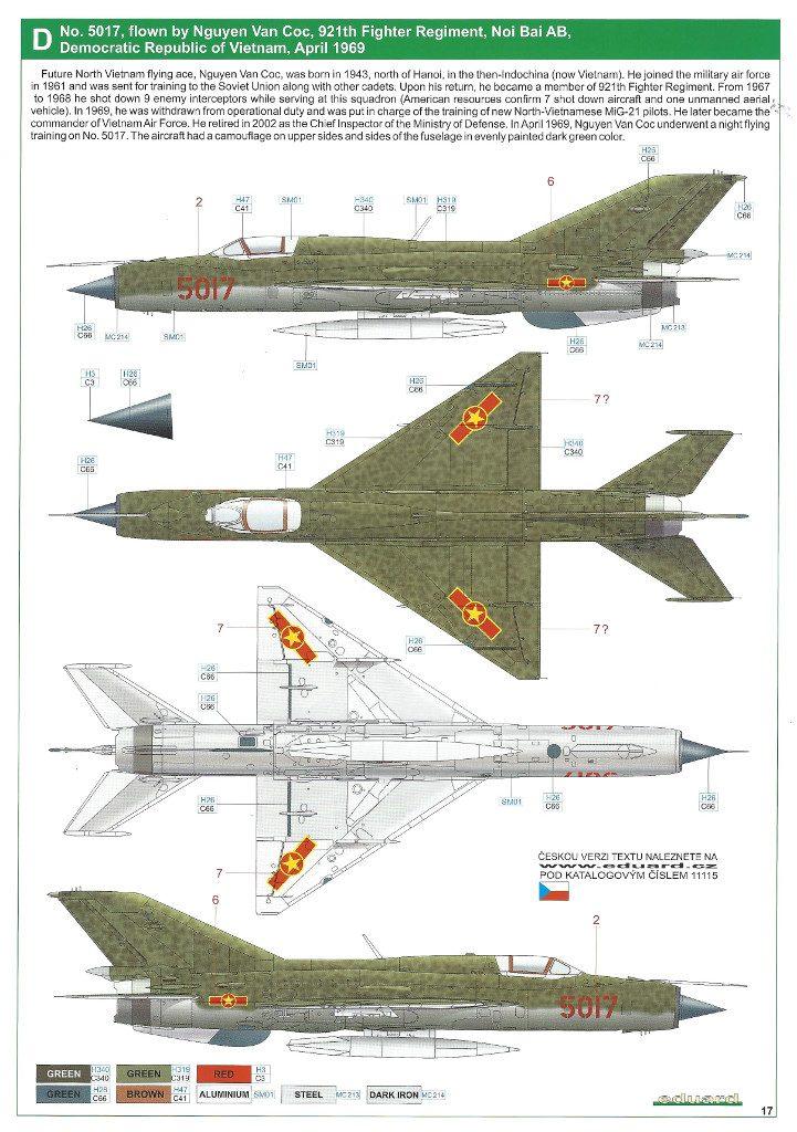 """Anleitung17-721x1024 MiG-21PFM """"Vietnam"""" 1:48 Eduard (#11115)"""
