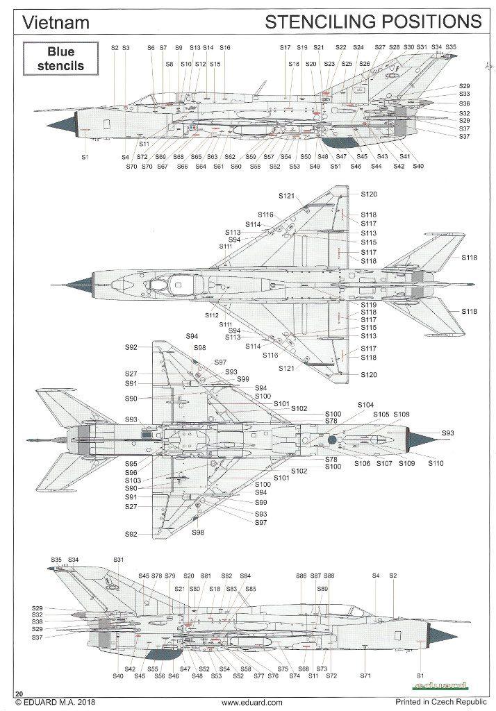 """Anleitung20-714x1024 MiG-21PFM """"Vietnam"""" 1:48 Eduard (#11115)"""