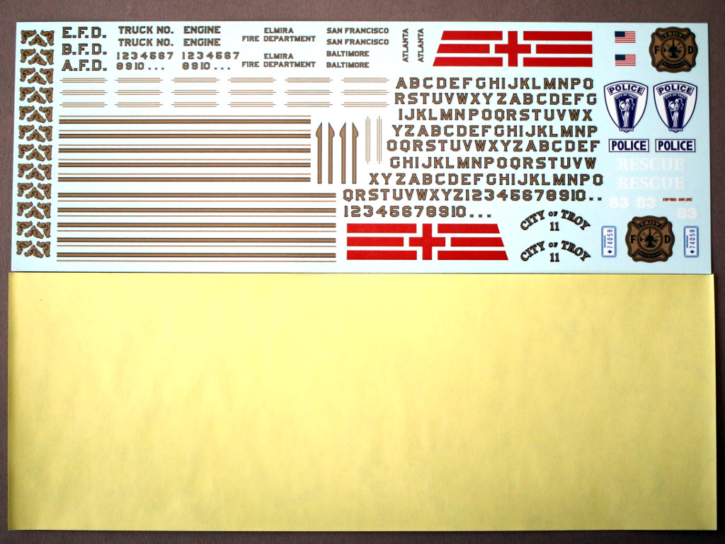 Decals-2 Chevy Rescue Van 1:25 AMT (#812)