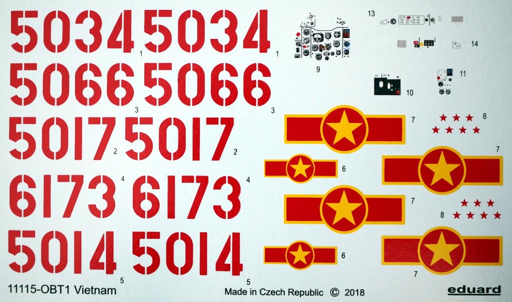 """Decals-3 MiG-21PFM """"Vietnam"""" 1:48 Eduard (#11115)"""