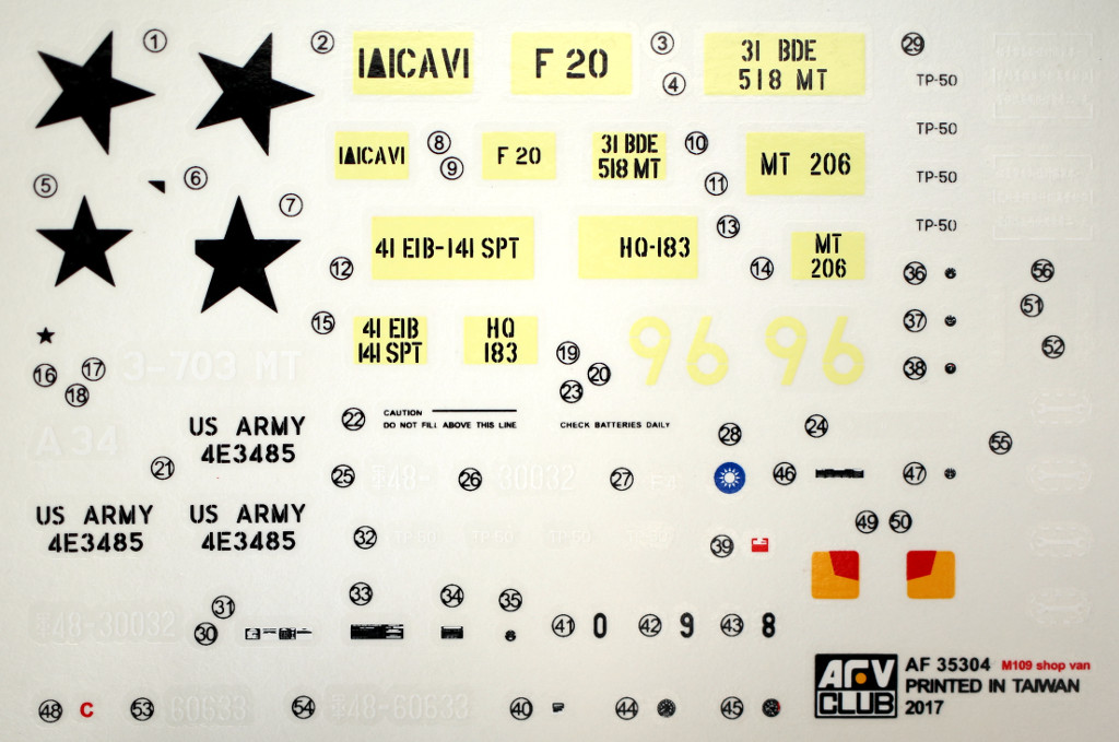 Decals-5 M109A3 2.5-Ton 6×6 Shop Van 1:35 AFV Club (#AF35304)