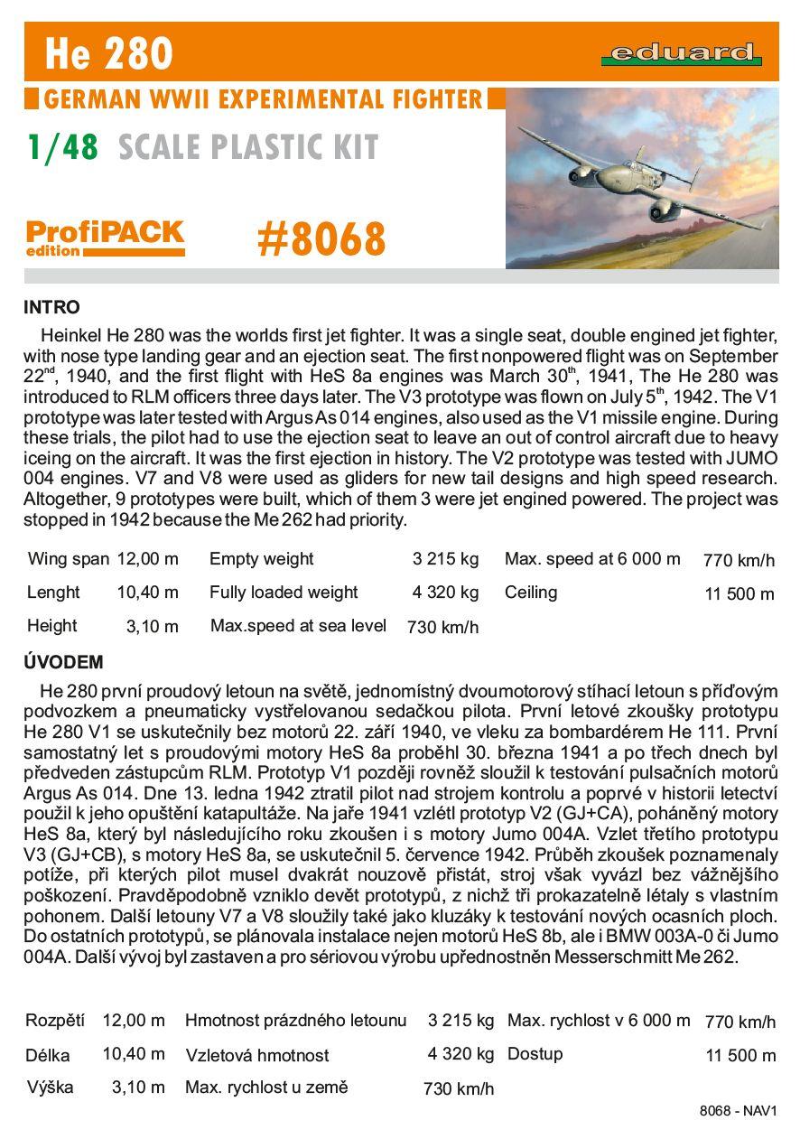 Eduard-8068-Heinkel-he-280-36 Heinkel He 280 PROFIPACK in 1:48 von Eduard 8068