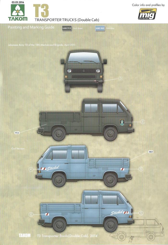 Markierung2 T3 Transporter Truck Double Cab 1:35 Takom (#2014)
