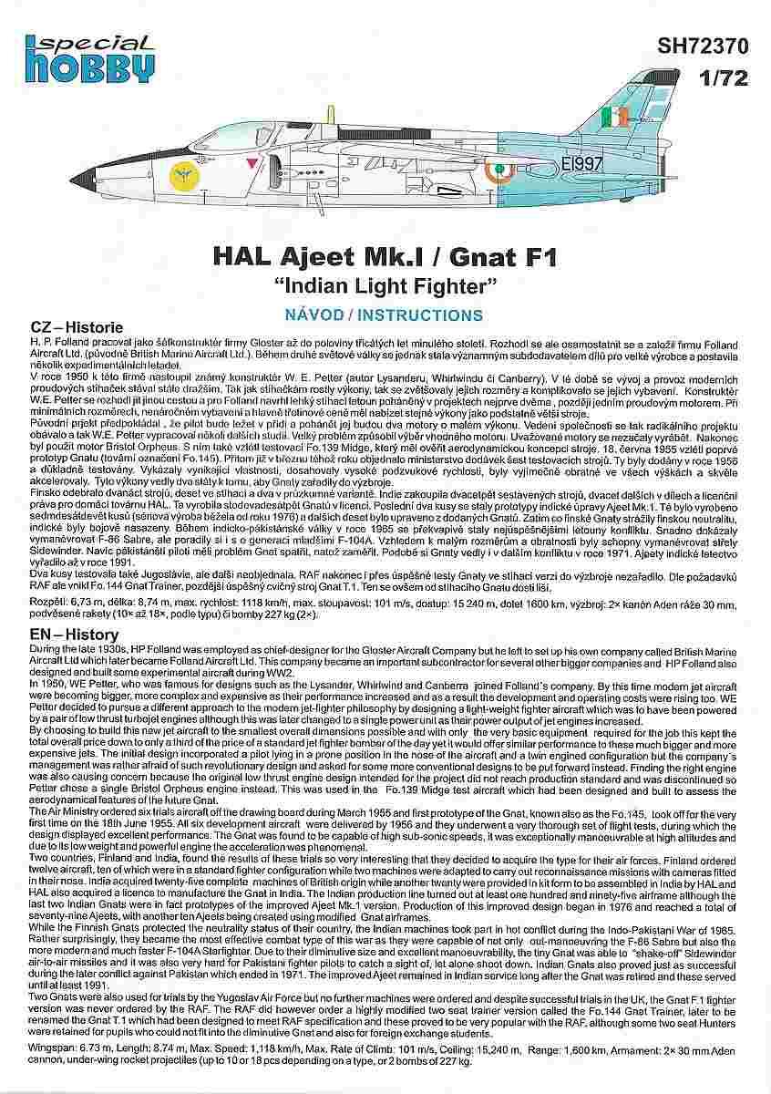 Special-Hobby-SH-72370-Ajeet-Mk.-I-Indian-Light-Fighter-18 Ajeet Mk. I Indian Light Fighter im Maßstab 1:72 von Special Hobby SH 72370