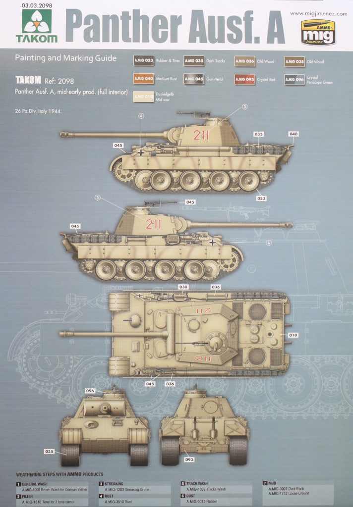 Variante3-712x1024 Panther Ausf. A mid-early prod. (full interior) 1:35 Takom #2098