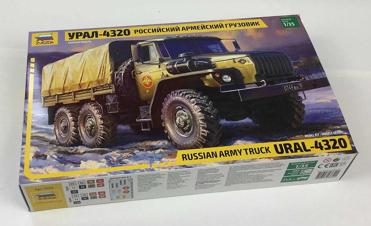 Zvezda-3654-Ural-4320-1 Russischer LKW Ural 4320 im Maßstab 1:35 von Zvezda 3654
