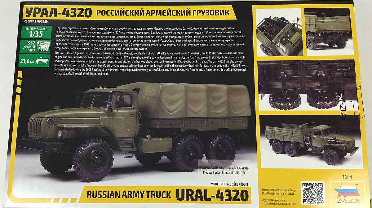 Zvezda-3654-Ural-4320-2 Russischer LKW Ural 4320 im Maßstab 1:35 von Zvezda 3654