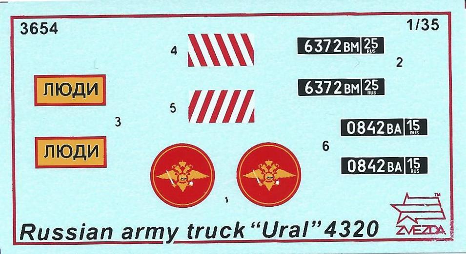 Zvezda-3654-Ural-4320-Decal Russischer LKW Ural 4320 im Maßstab 1:35 von Zvezda 3654