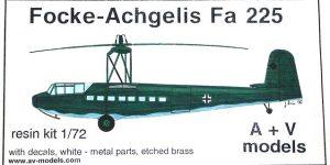 Focke Achgelis Fa 225 im Maßstab 1:72 von A+V Models