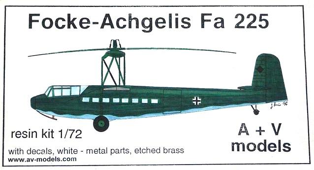 AV-Models-Fa-225-1 Focke Achgelis Fa 225 im Maßstab 1:72 von A+V Models