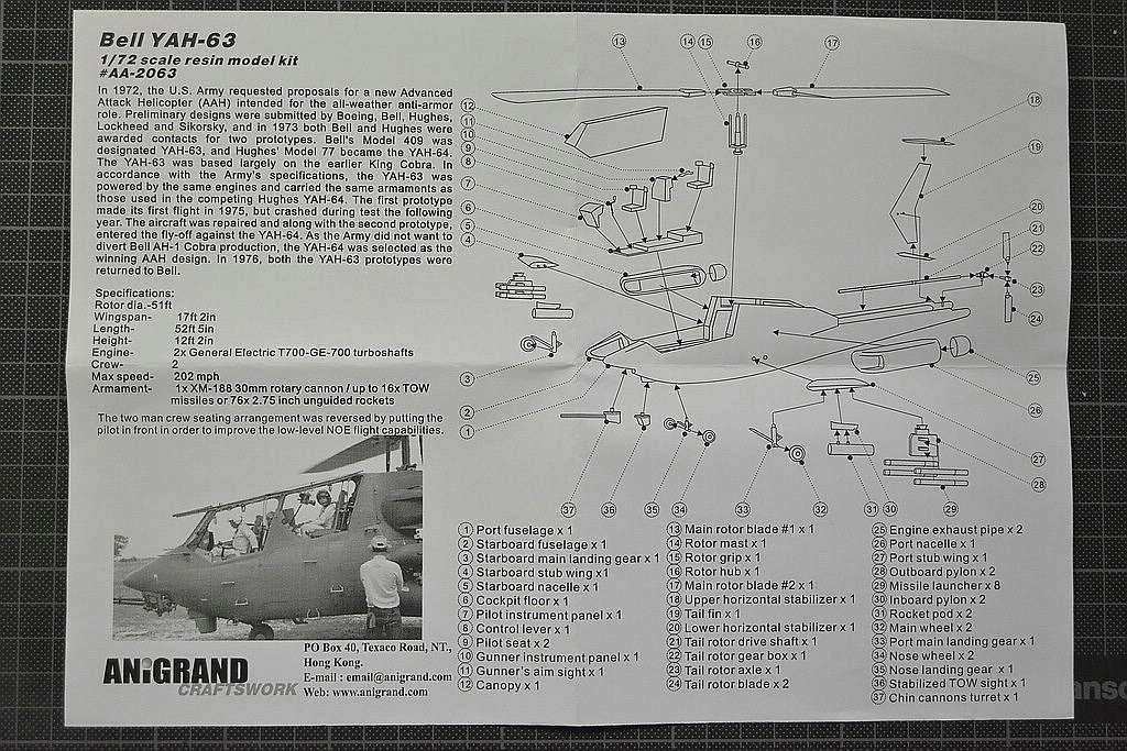 Anigrand-AA-2063-YAH-63-15 Kampfhubschrauber Bell YAH-63 im Maßstab 1:72 von Anigrand AA-2063