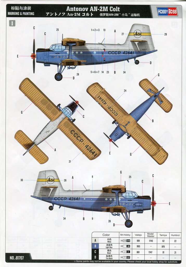Antonov_AN-2_HobbyBoss_56 Antonov An-2M Colt - Hobby Boss 1/48