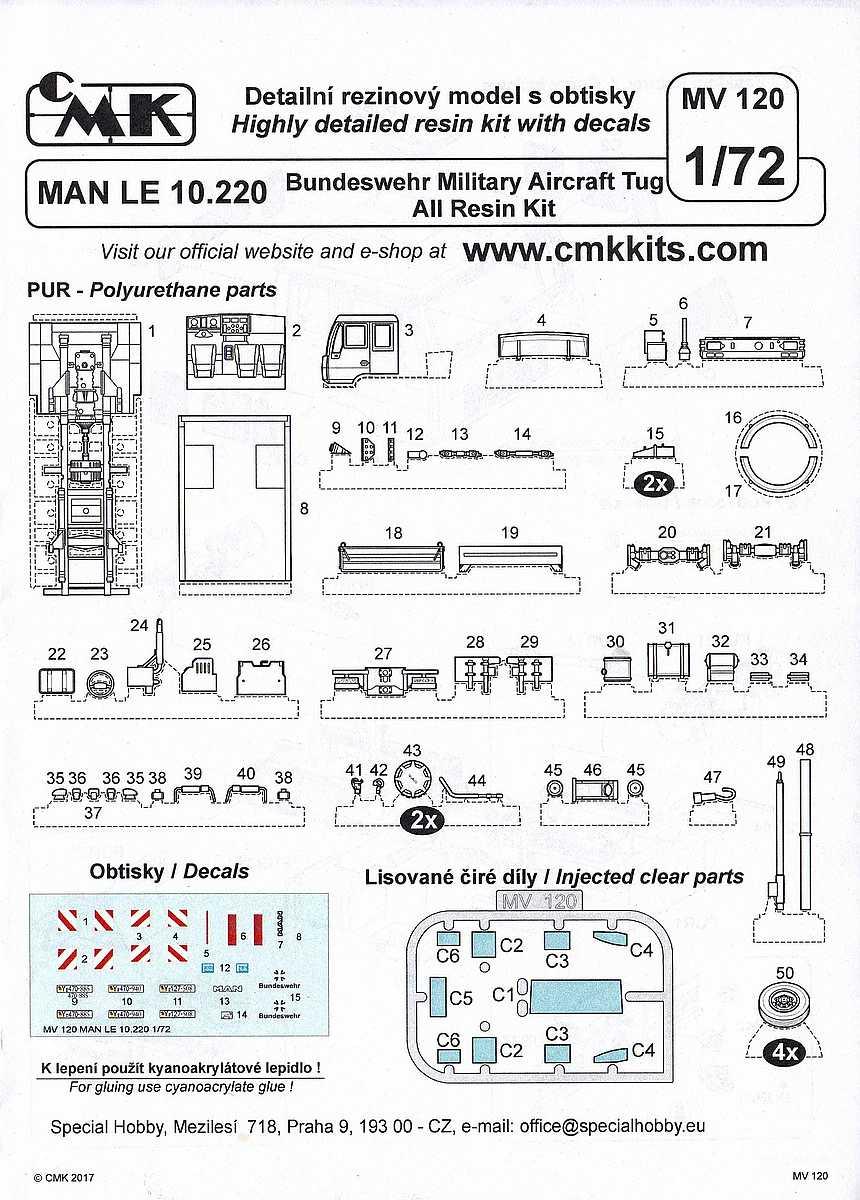 CMK-MV-120-MAN-LE-10.220-Bundeswehr-Military-Aircraft-Tug-Bauanleitung1 MAN LE 10.220 Bundeswehr Military Aircraft Tug in 1:72 von CMK MV 120