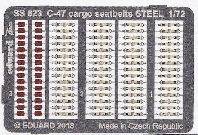 Eduard-SS-623-C-47-Cargo-Seatbelts-2 Ätzteilsets von Eduard für die C-47A Skytrain im Maßstab 1:72 von HobbyBoss