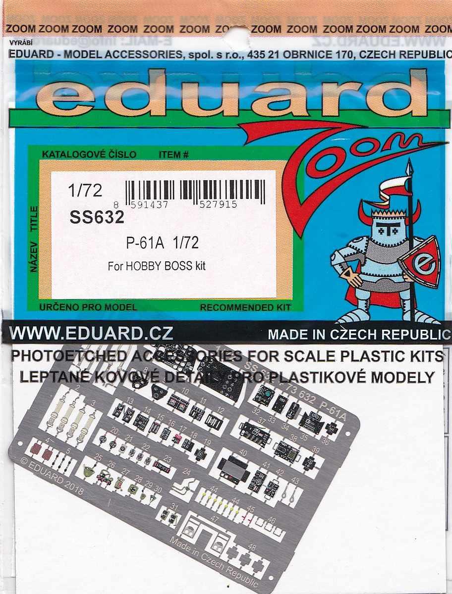 Eduard-SS-632-P-61A-ZOOM Eduard Detailsets für die P-61A von HobbyBoss im Maßstab 1:72
