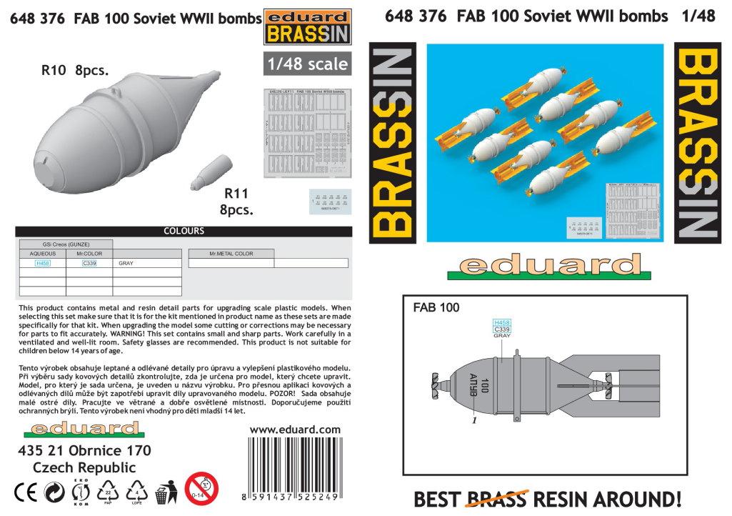 Eduard_FAB_100_23 FAB 100/250/500 - Soviet WWII Bombs - Eduard Brassin 1/48