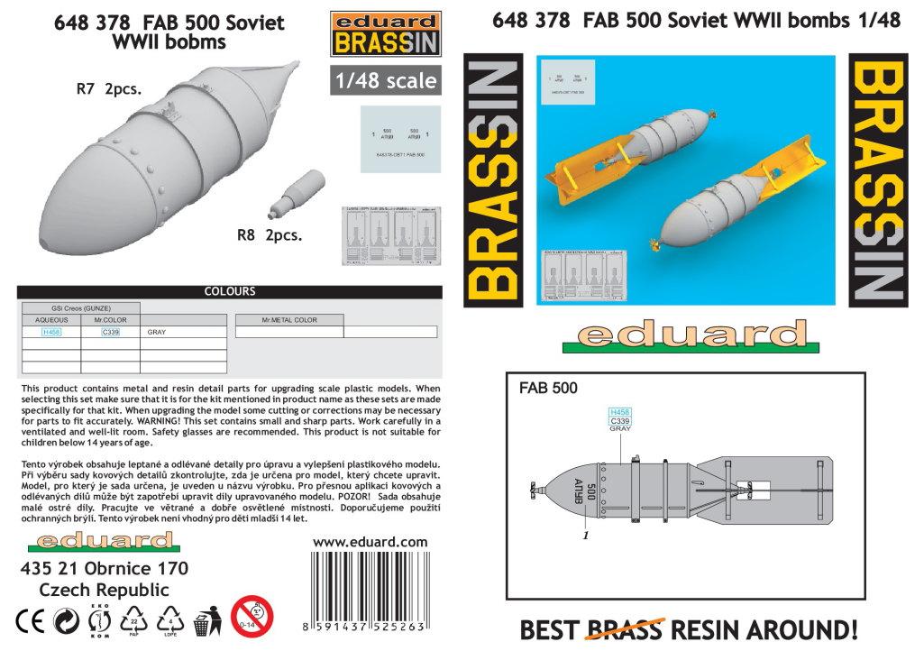 Eduard_FAB_500_26 FAB 100/250/500 - Soviet WWII Bombs - Eduard Brassin 1/48