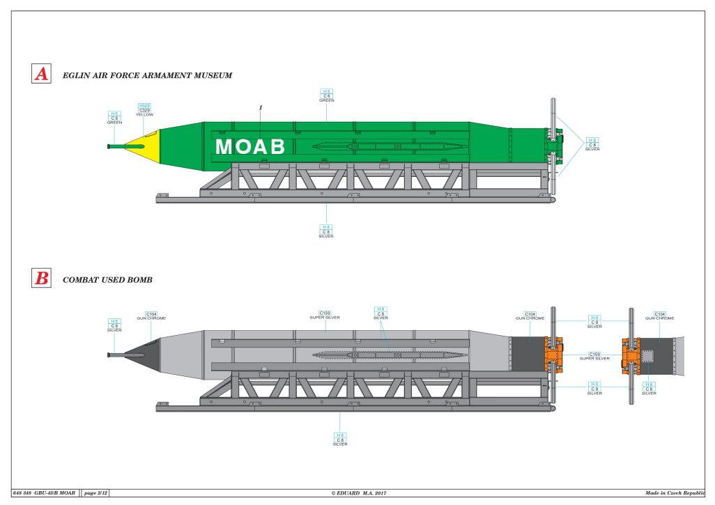"Eduard_MOAB_1-48_18 GBU-43/B Massive Ordnance Air Blast (""MOAB"") – Eduard BRASSIN 1/48"