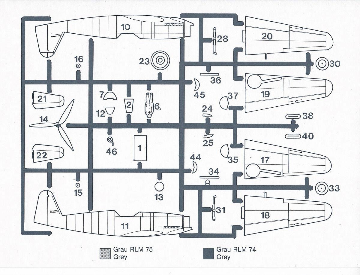 HUMA-3505-Messerschmitt-Me-209-V5-13 Kit-Archäologie - heute: Messerschmitt Me 209 V5 im Maßstab 1:72 von HUMA