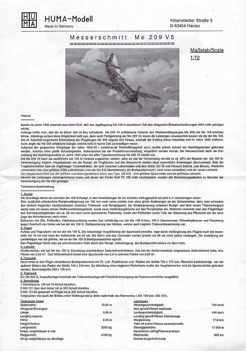 HUMA-3505-Messerschmitt-Me-209-V5-14 Kit-Archäologie - heute: Messerschmitt Me 209 V5 im Maßstab 1:72 von HUMA