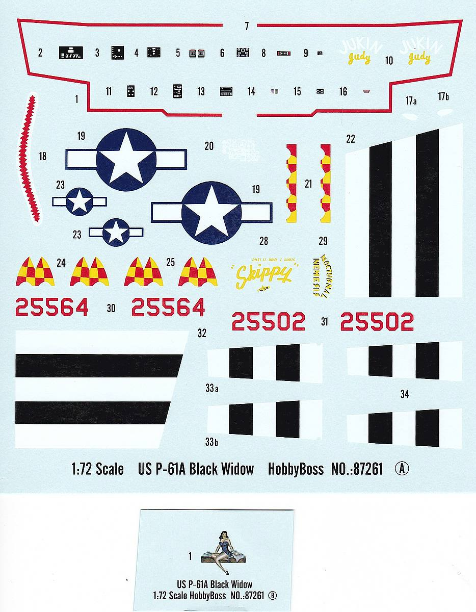 HobbyBoss-87261-P-61A-Decals P-61A Black Widow im Maßstab 1:72 von Hobby Boss 87261