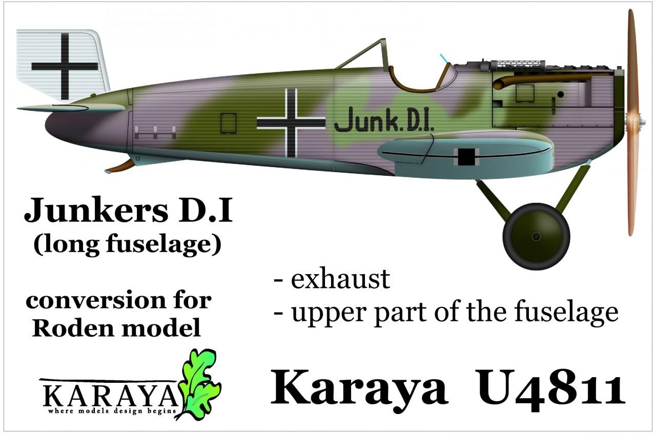 "Karaya-U4811-Junkers-D-3 Junkers D.I ""long fuselage"" Korrekturset und Auspuff in 1:48 von Karaya U4811"