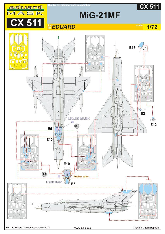 Eduard-CX-511-MiG-21MF-Masken Zubehör für die MiG-21MF in 1:72 - selbstklebende Masken Eduard CX 511 und CX 512