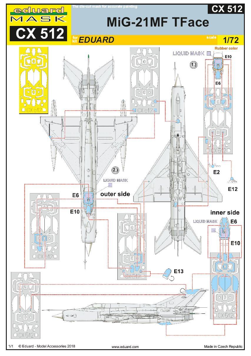 Eduard-CX-512-MiG-21MF-TFace-Maksen Zubehör für die MiG-21MF in 1:72 - selbstklebende Masken Eduard CX 511 und CX 512