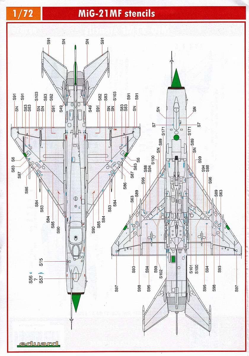 Eduard-D-72015-MiG-21MF-stencils-1 Zubehör für die neue MiG-21MF im Maßstab 1:72 von Eduard - Stencils D72015
